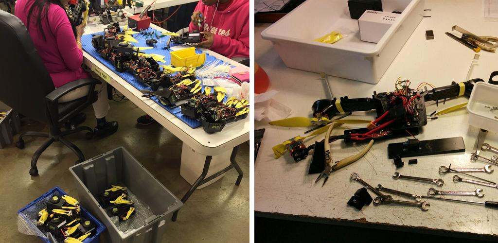 a sinistra: il Pocket Drone su un tavolo di Indianapolis ——– a destra: il Pocket Drone su un tavolo di Velletri